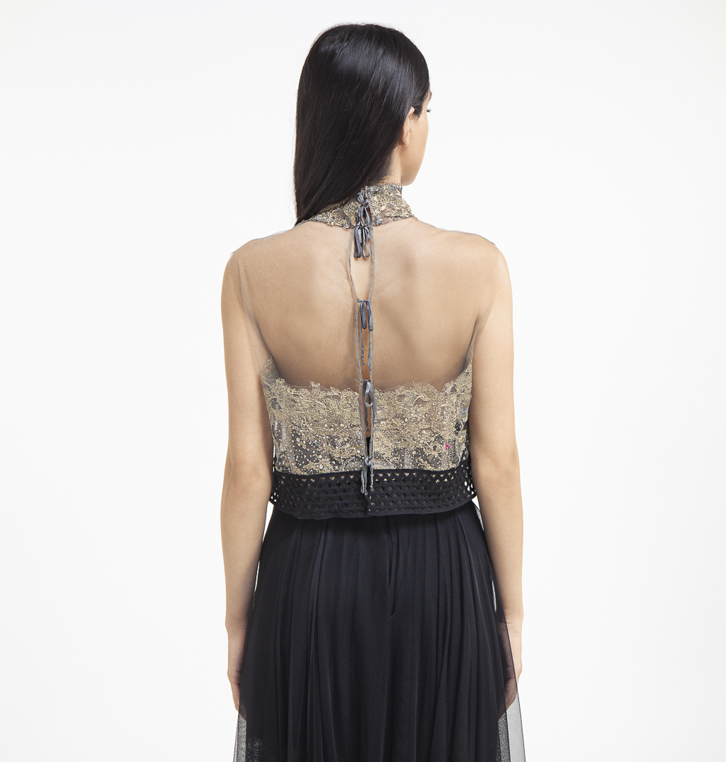 Tulle top with french laces , semi-sheer