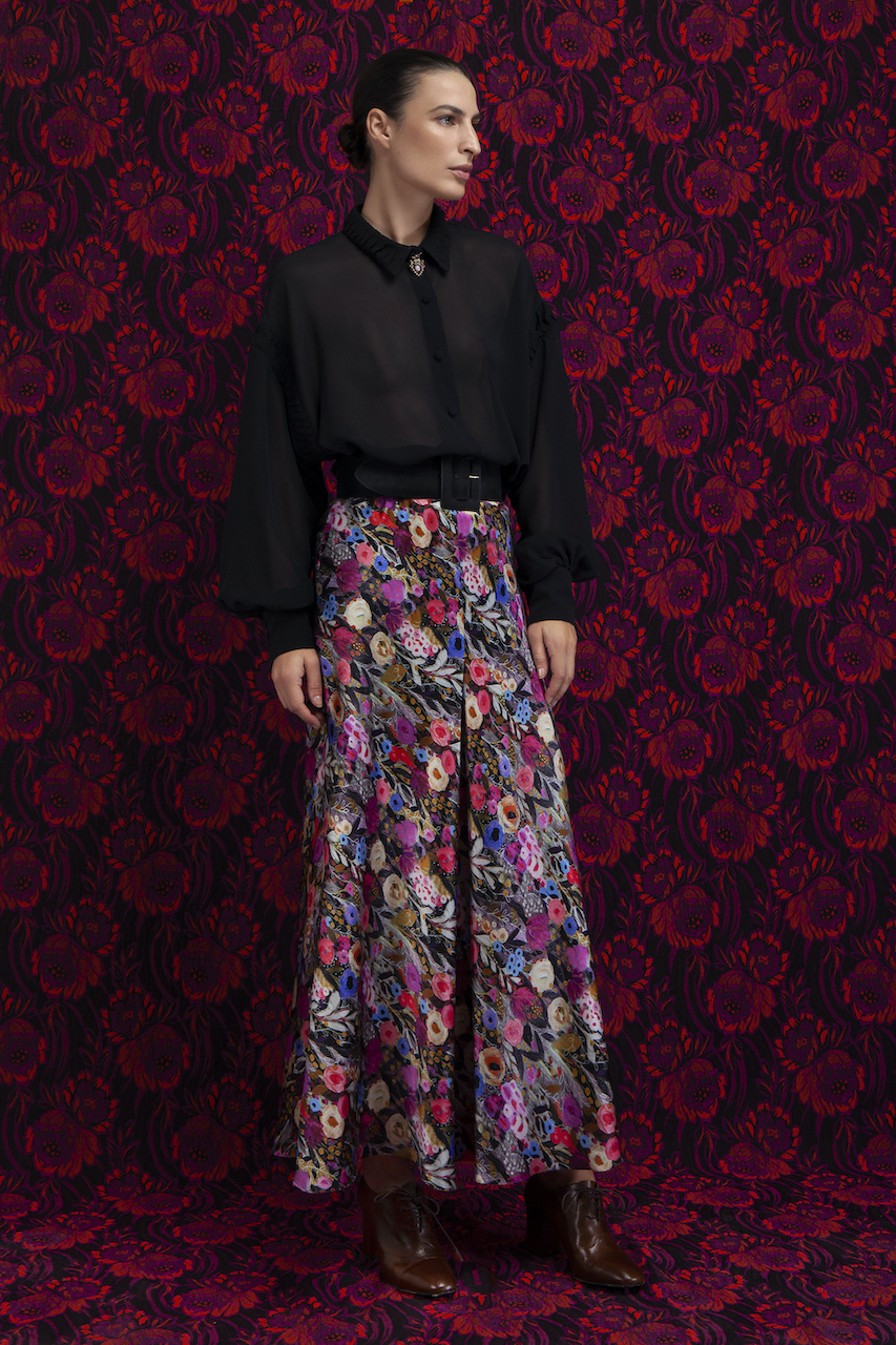 Floral silk satin skirt Campaign 20'/21'