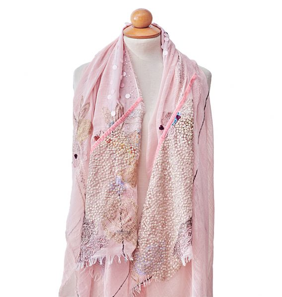pink Pashmina with french laces