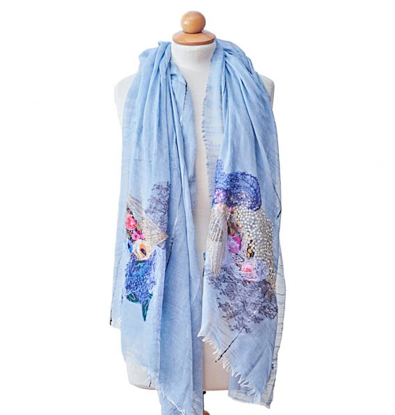blue pashmina with french laces